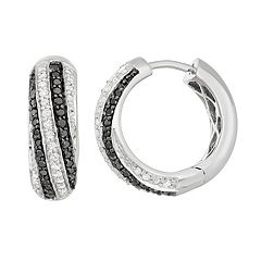 Sterling Silver 1/2 Carat T.W. Black & White Diamond Hoop Earrings