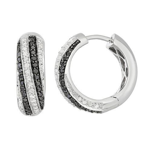 Sterling Silver 1/2 Carat T.W. Black & White Diamond Hoop Earrings
