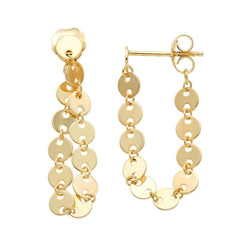 14k Gold Circle Link Chain Wrap Earrings