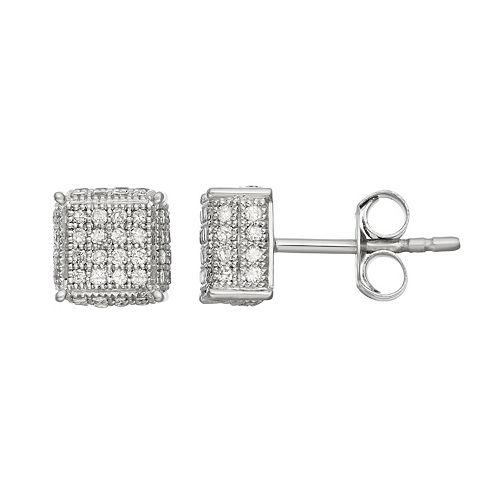 Sterling Silver 1/2 Carat T.W. Diamond Square Stud Earrings