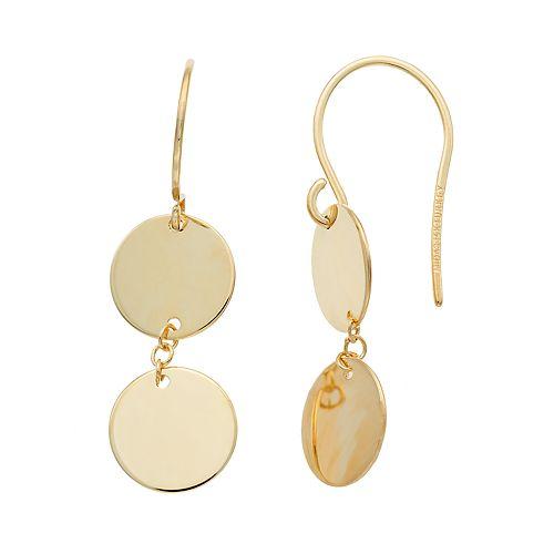 14k Gold Double Disc Drop Earrings