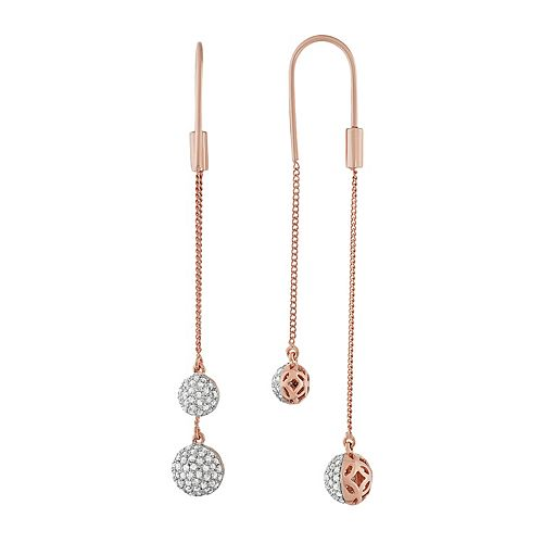 14k Rose Gold Over Silver 3/4 Carat T.W. Diamond Front Back Threader Earrings