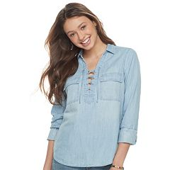 Juniors' SO® Lace-Up Chambray Shirt