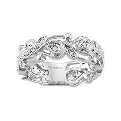 Sterling Silver 1/10 Carat T.W. Diamond Paisley Ring