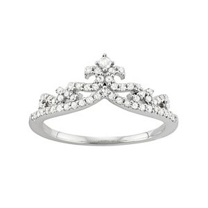 Sterling Silver 1/3 Carat T.W. Diamond Crown Ring