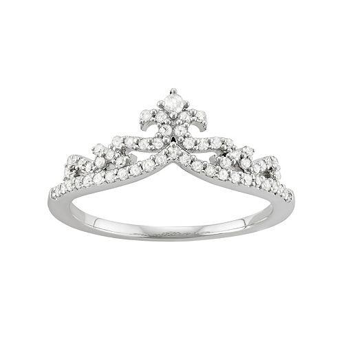 Sterling Silver 1/3 Carat T.W. Diamond Crown Ring