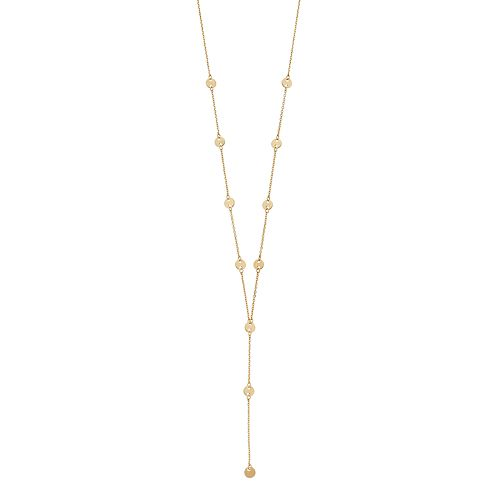 14k Gold Disc Y Necklace