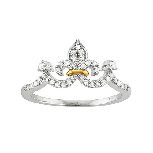 Two Tone Sterling Silver 1/5 Carat T.W. Diamond Crown Ring
