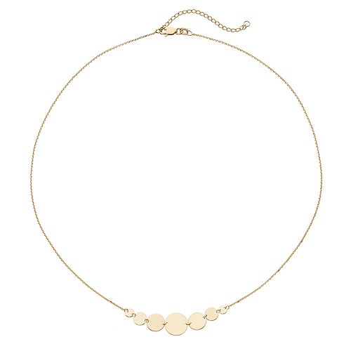 14k Gold Graduated Disc Necklace