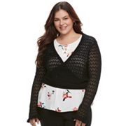 Juniors' Plus Size Candie's® Pointelle Cropped Wrap Sweater