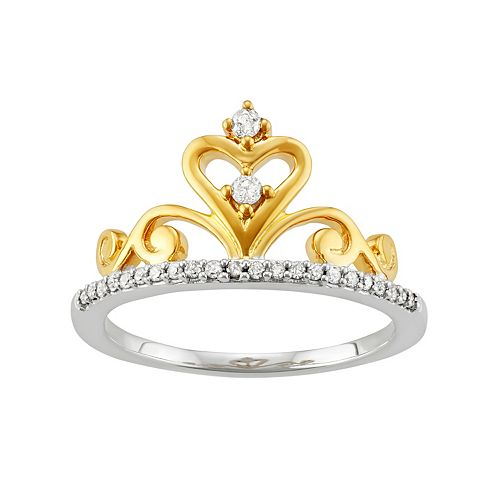 Two Tone Sterling Silver 1/6 Carat T.W. Diamond Crown Ring
