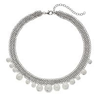 Simply Vera Vera Wang Simulated Pearl Chain Mesh Necklace