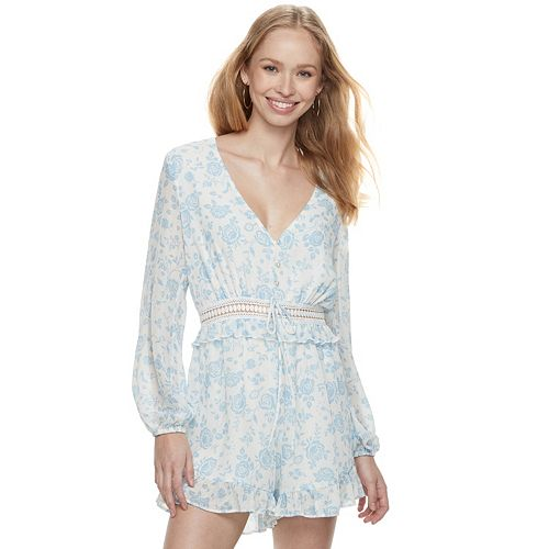 Disney Princess Juniors' Floral Crochet Waist Romper