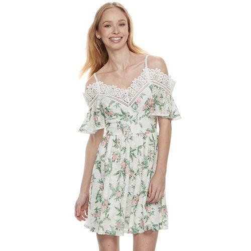 Disney Princess Juniors' Floral Lace Cold-Shoulder Dress