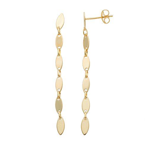 14k Gold Marquise Link Linear Earrings