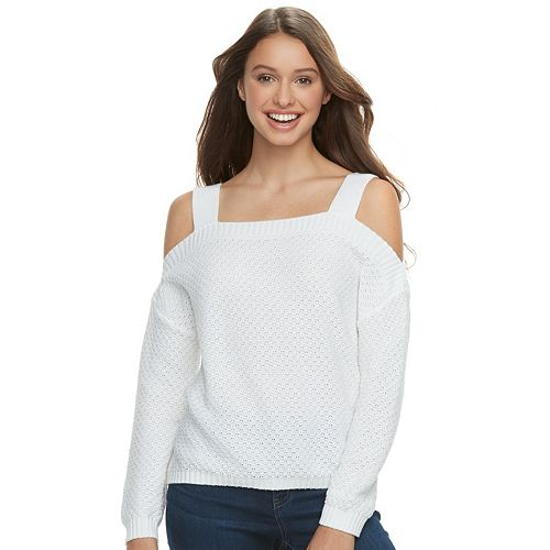 Juniors' SO® Cold-Shoulder Long Sleeve Top