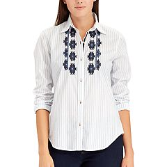 Women's Chaps Embroidered Button-Down Shirt