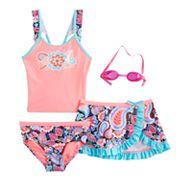 Girls 4-6x ZeroXposur Paisley Tankini Top, Bottoms & Skirt Swimsuit Set