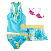 Girls 4-6x ZeroXposur Tankini Top, Bottoms & Tropical Flower Skirt Swimsuit Set