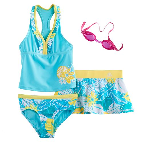Girls 4-6x ZeroXposur Tankini Top, Bottoms & Tropical Flower Skirt Swimsuit Set