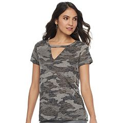 Women's Rock & Republic® V-Neck Cutout Tee