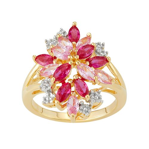 14k Gold Over Silver Lab-Created Ruby & Sapphire Cluster Ring
