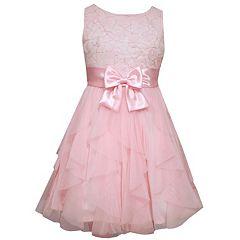 Girls 7-16 Bonnie Jean Sequin Flower Applique Bodice & Spiral Ruffle Skirt Dress