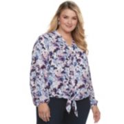 Plus Size Jennifer Lopez Tie Front Top
