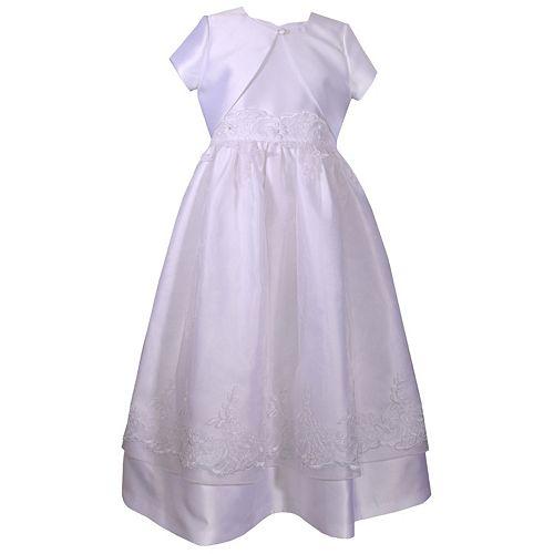 Girls 7-16 & Plus Size Bonnie Jean Silk Mikado Cardigan & Sweetheart Dress Set