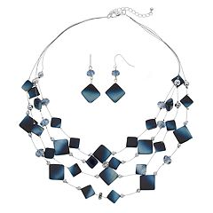 Multi Strand Illusion Necklace & Drop Earrings Set