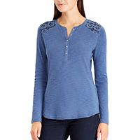 Women's Chaps Embroidered Yoke Henley