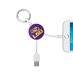 LSU Tigers Keychain Portable Charging Lightning Cable