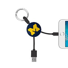 Michigan Wolverines Keychain Portable Charging Lightning Cable