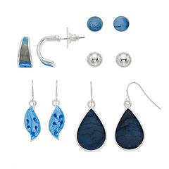Blue Teardrop Nickel Free Earring Set