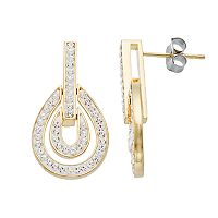 Starlight Silver Plated Crystal Double Teardrop Earrings