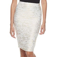 Women's Double Click Textured Metallic Midi Skirt
