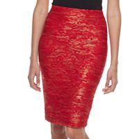 Women's Double Click Textured Metallic Midi Skirt