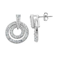Starlight Silver Plated Crystal Double Circle Drop Earrings