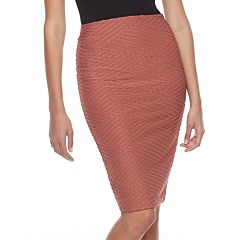 Women's Double Click Textured Pencil Skirt