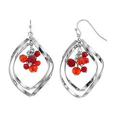 Red Beaded Cluster Nickel Free Orbital Drop Earrings