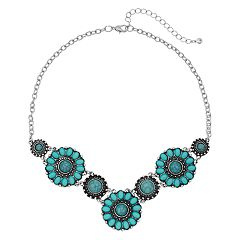 Simulated Turquoise Floral Statement Necklace