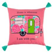 "Rizzy Home Simply Southern ""Home is Wherever"" Camper Throw Pillow"