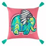 "Rizzy Home Simply Southern ""Be Strong and Courageous"" Elephant Throw Pillow"