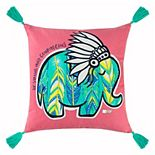 """Rizzy Home Simply Southern """"Be Strong and Courageous"""" Elephant Throw Pillow"""