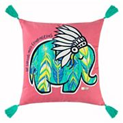 Rizzy Home Simply Southern 'Be Strong and Courageous' Elephant Throw Pillow