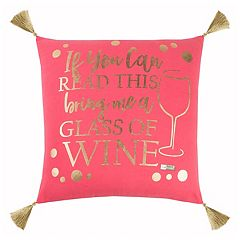 Rizzy Home Simply Southern 'Glass of Wine' Throw Pillow