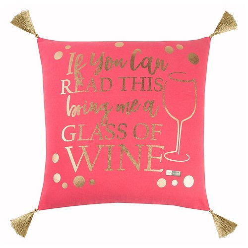 """Rizzy Home Simply Southern """"Glass of Wine"""" Throw Pillow"""