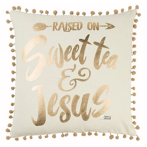 """Rizzy Home Simply Southern """"Raised on Sweet Tea"""" Throw Pillow"""