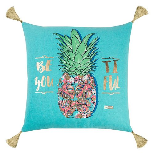 "Rizzy Home Simply Southern ""Be-You-Tiful"" Pineapple Throw Pillow"