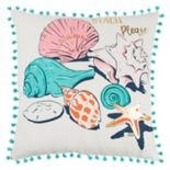 "Rizzy Home Simply Southern ""Beach Please"" Seashells Throw Pillow"